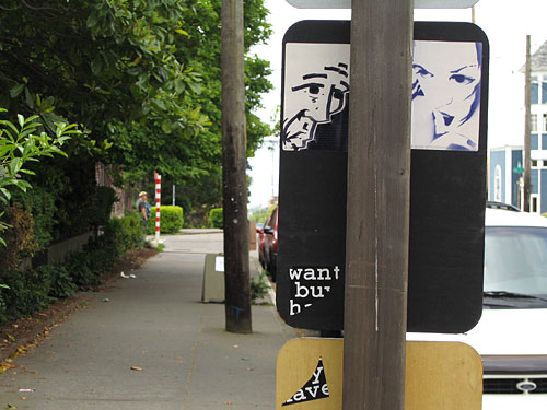[Stencil girl sticker with Bald Man sticker]
