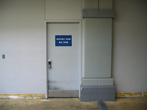 """[door with sign: """"Weather Room, Bag Room""""]"""