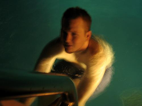 [Hazy Hayden in a pool]