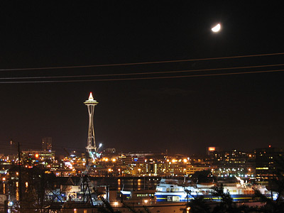 [Space Needle and moon]